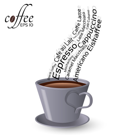 Cup of coffee and words popular types of coffee