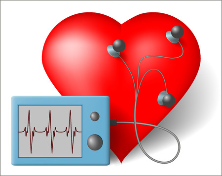 Red heart and cardiac monitor -  ECG Illustration