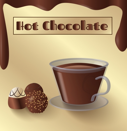 Cup of hot chocolate and small candy and melted chocolate