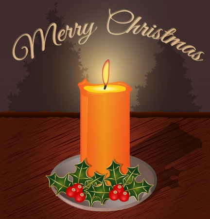 Christmas greeting card with candles and decorative
