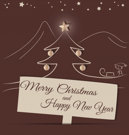 Brown greeting card motive Christmas landscape