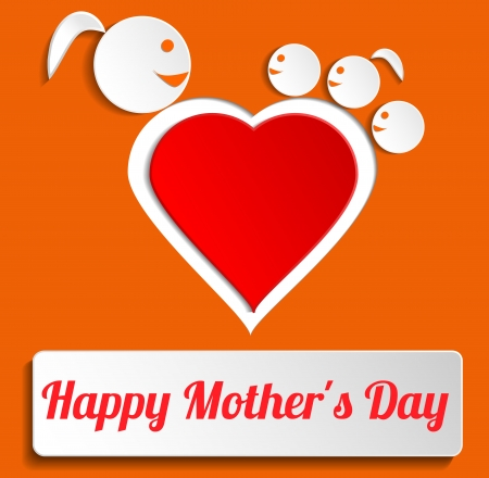 Happy Mothers Day card with heart and mom and children Vector