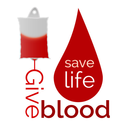 transfused: Give blood - blood bag and drop of blood