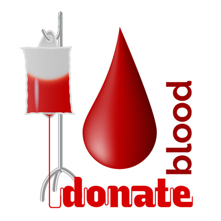 Donate blood - blood donation concept with blood drop and bag of blood Ilustracja