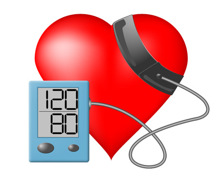 blood pressure bulb: Heart and blood pressure monitor on a white background