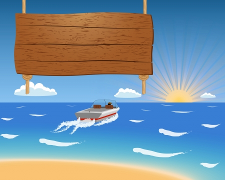 Summer with sea and motorboat with wooden sign  Ilustracja