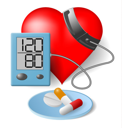 blood pressure monitor: Heart and blood pressure monitor and pills on a white  Illustration