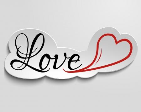 PAPIER A LETTRE: amour lettrage à la main et le c?ur de l'inscription sur le papier, l'effet 3d
