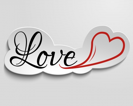 Hand lettering inscription love and heart on paper, 3d effect  Illustration