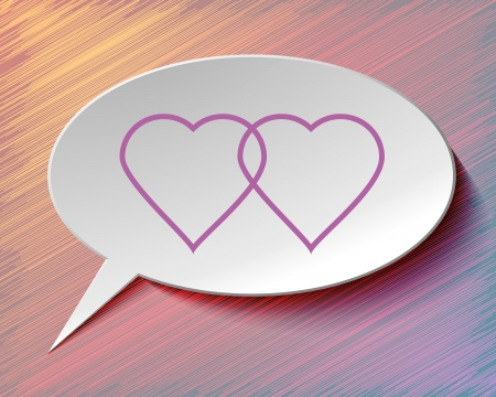 Speech bubble and hearts on colorful   Ilustracja