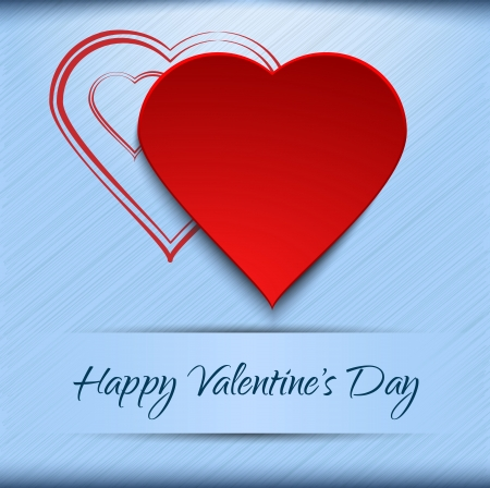 Valentine s card template - red hearts on blue background