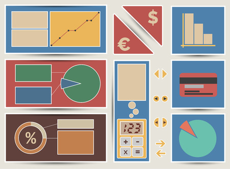 Vector financial baners and icons for slider in flat retro style