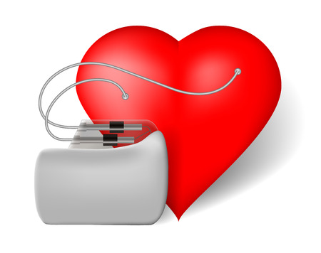 Pacemaker and red heart, vector illustration on white background Illustration