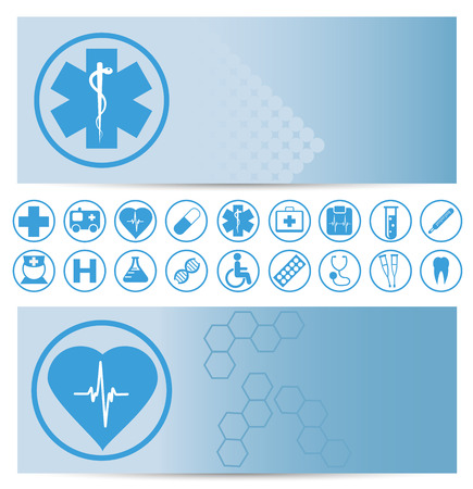 aesculapius: Blue medical banners with icons - vector illustration