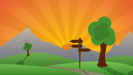 Beautiful green landscape and sunset behind hills - vector illustration Ilustracja