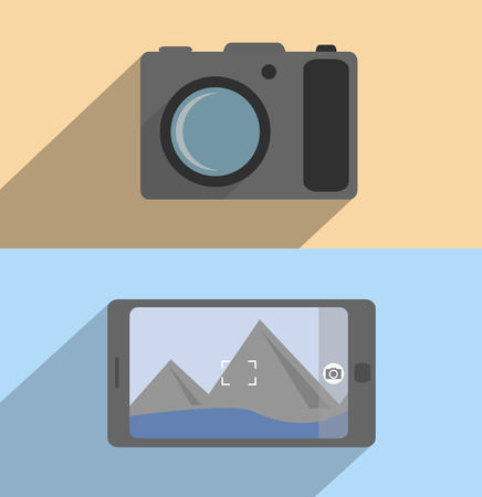 Flat camera and mobile design with shadow  Ilustracja