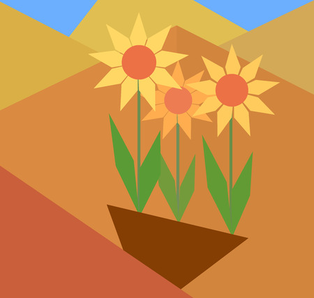 Abstract concept of flat flowers and background of geometric shapes Vector