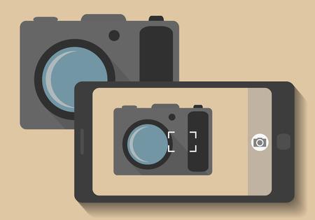 taking picture: Camera phone taking photo of camera - vector illustration Illustration
