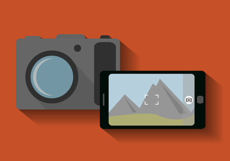 Camera phone and classic camera - vector illustration