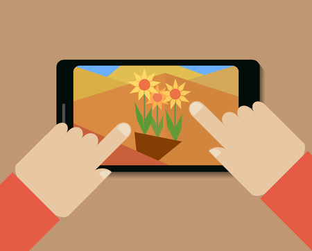Mobile phone with picture of flowers and hands, vector illustrations Ilustracja