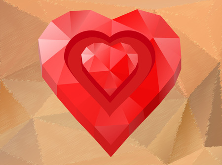 Polygon red heart on unusual background - vector illustration Stock Vector - 29457752