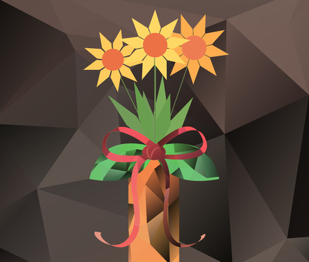 Abstract bouquet in vase - polygon vector graphics  Ilustracja