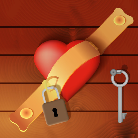 hasp: Heart secured by a hasp with wooden background - vector illustration