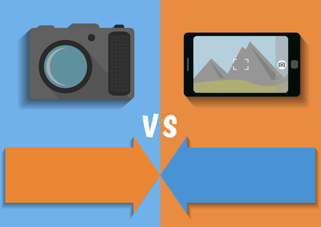 versus: Comparison of camera and phone - vector illustration