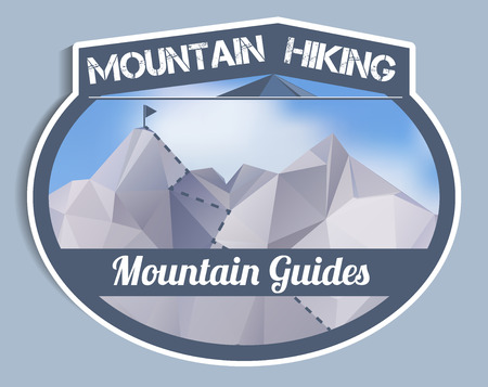 guides: Mountain Guides sticker - polygonal, vector illustration