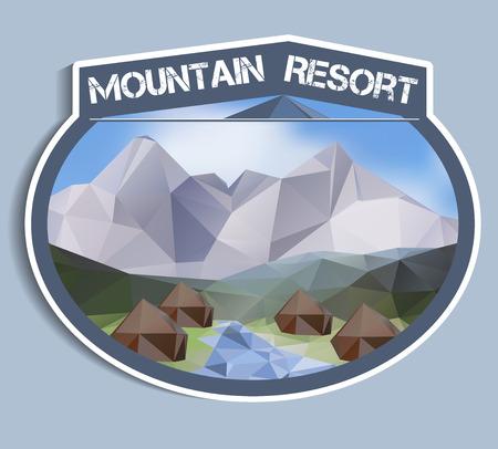 Mountain Resort sticker - polygonal vector illustration Vector