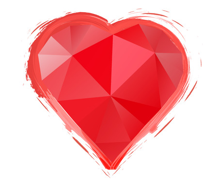Polygon red heart on a white background