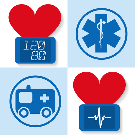 blood pressure monitor: Set of icons for medicine - flat vector illustration