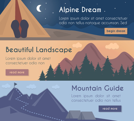 Vector banners illustration set  mountain hiking in the beautiful landscape with mountain guide.