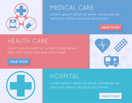 Medical banner set. Health, medical care and hospital concept. Vector illustration.
