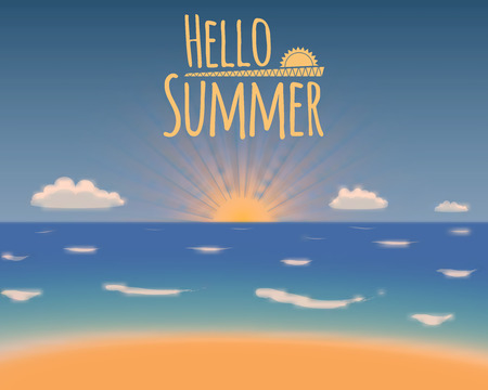 hollyday: Hello summer vector background. Summer vacation beach paradise. Vector illustration.