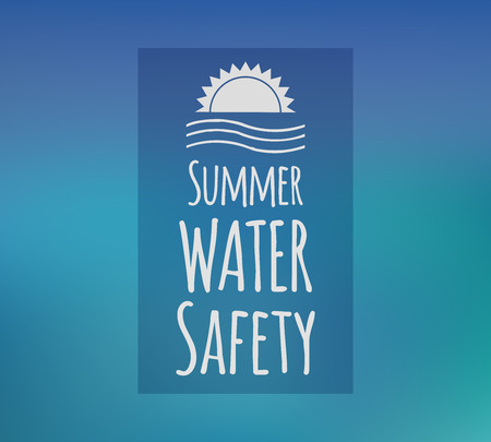 water safety: Summer water safety concept. Vector concept with beautiful blue background.