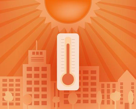 太陽と温度計が付いている都市の熱日。ベクトルの夏のコンセプトです。  イラスト・ベクター素材