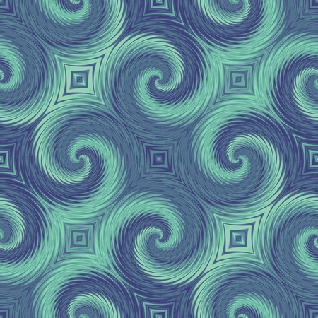Blue and green seamless pattern with swirl effect. Energy spiral background.