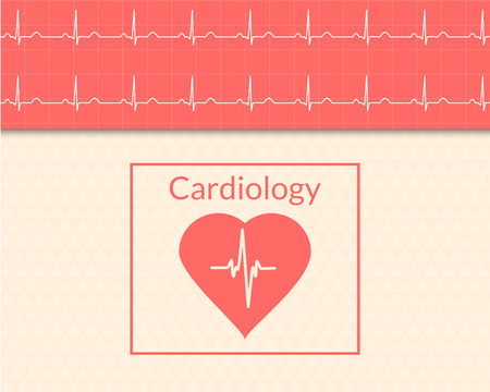 Cardiology concept. Medical background of the heart and ECG graph. Vector illustration.