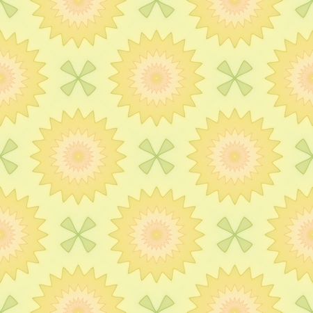 Summer seamless background. Pastel colored flowers and green pattern on a yellow background. Abstarct design.