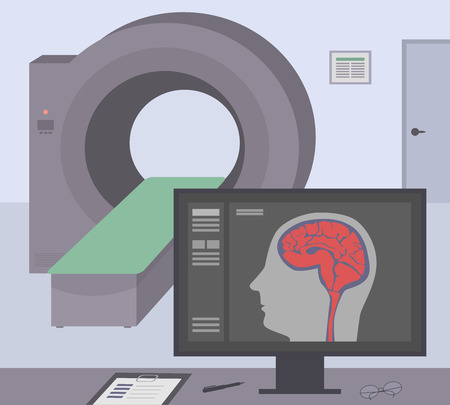 mri head: Radiologic room with a computer tomograph. MRI  CT diagnostic scanner and monitor to scan the human brain on the screen. Vector illustration. Illustration