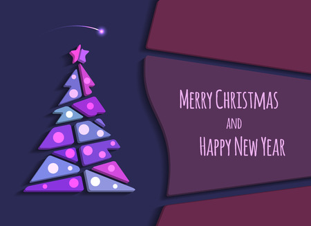 Merry Christmas and Happy New Year greeting card. Vector modern christmas tree background with space for text. Abstract illustration.