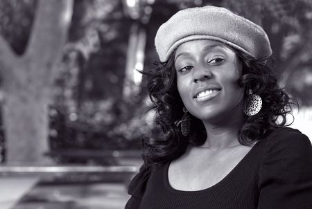 flirty: Portrait of Flirty African-American in the park