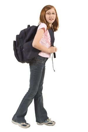 tinted glasses: Schoolgirl standing with her blue backpack