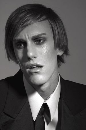 shocked by news male in tears (BW)  photo