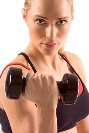 black dumbbell in hand of working out blonde female  photo