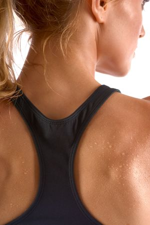 attractiveness: Sweaty female in sports outfit (back view) Stock Photo