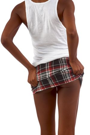 Upskirt image of skinny African-American female Stock Photo - 1229490