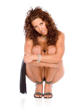Sexy girl sitting in squat position Stock Photo - 1268179
