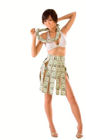 Japanese teenaged girl clothed in US money photo